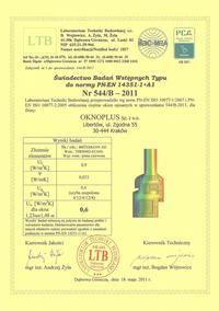 OknoPlus - certyfikaty