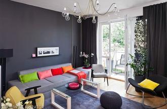 Szare ściany w nowoczesnym salonie